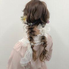 編みおろし ロング 編みおろしツイン ヘアアレンジ ヘアスタイルや髪型の写真・画像