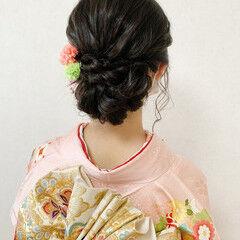 振袖 着物 成人式ヘア セミロング ヘアスタイルや髪型の写真・画像