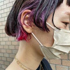 ミニボブ モード ウルフカット ブリーチ ヘアスタイルや髪型の写真・画像
