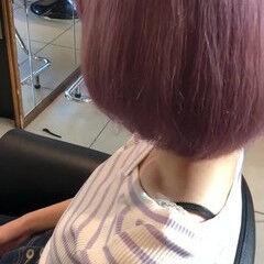 パステルカラー ダブルカラー ピンク ストリート ヘアスタイルや髪型の写真・画像