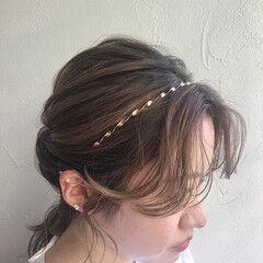 ヘアセット ナチュラル カチューシャ ヘアアレンジ ヘアスタイルや髪型の写真・画像