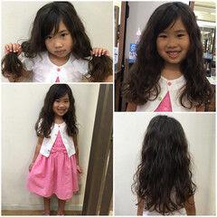 子供 スパイラルパーマ ロング ふわふわ ヘアスタイルや髪型の写真・画像