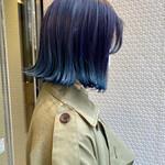 ナチュラル グラデーションカラー ブルー 裾カラー