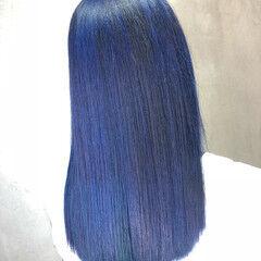 青紫 ネイビーブルー セミロング ブルージュ ヘアスタイルや髪型の写真・画像