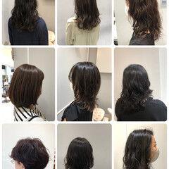 ナチュラル デジタルパーマ 無造作パーマ ミディアム ヘアスタイルや髪型の写真・画像