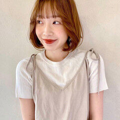 ボブ 韓国ヘア ナチュラル 韓国風ヘアー ヘアスタイルや髪型の写真・画像