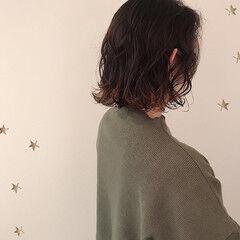 ミディアム ストリート 切りっぱなしボブ 裾カラー ヘアスタイルや髪型の写真・画像