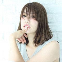 ハイライト 艶髪 ピュア ロブ ヘアスタイルや髪型の写真・画像