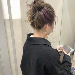 ヘアアレンジ ナチュラル ロング お団子ヘア ヘアスタイルや髪型の写真・画像