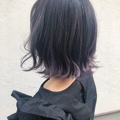 グラデーションカラー パープル 簡単ヘアアレンジ ボブ ヘアスタイルや髪型の写真・画像