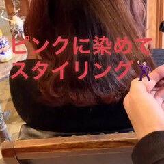 コーラル レッド セミロング ピンク ヘアスタイルや髪型の写真・画像