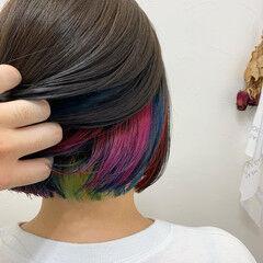 カラフルカラー ショートボブ ボブ ガーリー ヘアスタイルや髪型の写真・画像