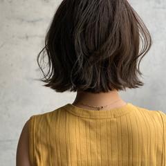 切りっぱなしボブ フェミニン ラベンダーグレージュ ボブ ヘアスタイルや髪型の写真・画像