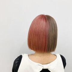 切りっぱなしボブ ストリート ボブ ブリーチ ヘアスタイルや髪型の写真・画像