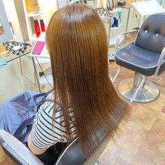 ロング 縮毛矯正 ナチュラル 夏 ヘアスタイルや髪型の写真・画像