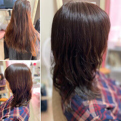 波ウェーブ ウルフパーマ ゆるふわパーマ ロング ヘアスタイルや髪型の写真・画像