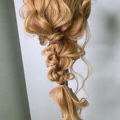 編みおろしヘア 簡単ヘアアレンジ ナチュラル ヘアアレンジ ヘアスタイルや髪型の写真・画像