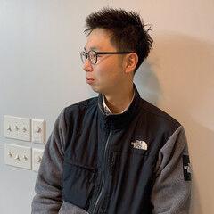 黒髪 眼鏡 メンズヘア メンズカット ヘアスタイルや髪型の写真・画像