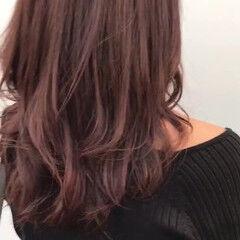 ローズ ロング フェミニン ピンク ヘアスタイルや髪型の写真・画像