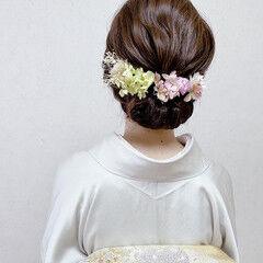 結婚式ヘアアレンジ エレガント 結婚式 ミディアム ヘアスタイルや髪型の写真・画像