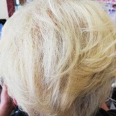 ショート ストリート ツーブロック ブリーチオンカラー ヘアスタイルや髪型の写真・画像