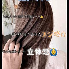 ノーブリーチ セミロング ナチュラル メッシュ ヘアスタイルや髪型の写真・画像
