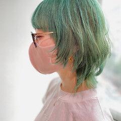 ウルフレイヤー ストリート ウルフカット ミントアッシュ ヘアスタイルや髪型の写真・画像