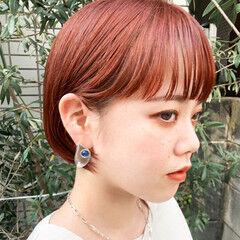 ボブ ミニボブ アプリコットオレンジ オレンジベージュ ヘアスタイルや髪型の写真・画像