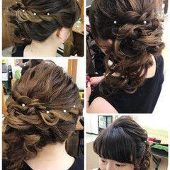 女子会 セミロング サイドアップ フェミニン ヘアスタイルや髪型の写真・画像