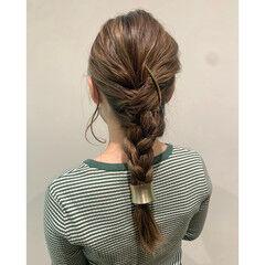 フィッシュボーン ガーリー ロング みつあみアレンジ ヘアスタイルや髪型の写真・画像