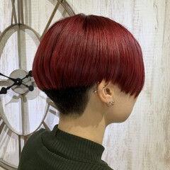 ナチュラル可愛い リアルサロン ブリーチオンカラー 赤髪 ヘアスタイルや髪型の写真・画像