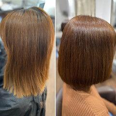 ココアベージュ エレガント セミロング チョコレート ヘアスタイルや髪型の写真・画像