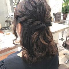 ナチュラル 結婚式 セミロング 簡単ヘアアレンジ ヘアスタイルや髪型の写真・画像