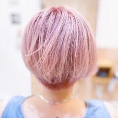 ピンク ピンクベージュ ベリーピンク ボブ ヘアスタイルや髪型の写真・画像