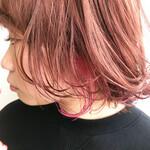 ピンクブラウン インナーピンク インナーカラー ハイライト