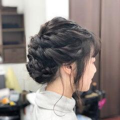 結婚式 ミディアム ロープ編みアレンジヘア ヘアセット ヘアスタイルや髪型の写真・画像