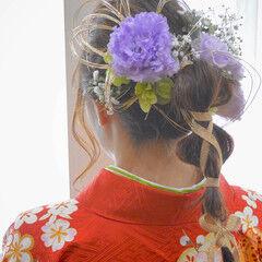 成人式ヘア ヘアアレンジ 可愛い 編み込み ヘアスタイルや髪型の写真・画像