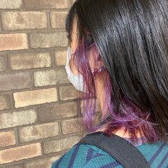 イルミナカラー ブリーチ必須 ピンクバイオレット インナーカラー ヘアスタイルや髪型の写真・画像