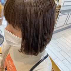 ヌーディベージュ 極細ハイライト 3Dハイライト ボブ ヘアスタイルや髪型の写真・画像