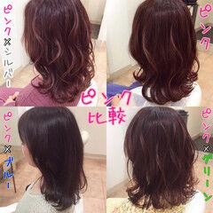 ピンク セミロング ヘアカラー 髪色 ヘアスタイルや髪型の写真・画像