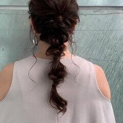 フェミニン たまねぎアレンジ ロング 編みおろし ヘアスタイルや髪型の写真・画像