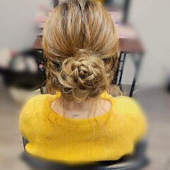フェミニン ヘアアレンジ セミロング 甘め ヘアスタイルや髪型の写真・画像