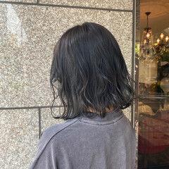 アッシュグレー モード ミントアッシュ ボブ ヘアスタイルや髪型の写真・画像