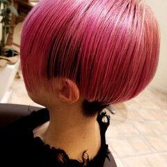 モード ショート ピンク ショートボブ ヘアスタイルや髪型の写真・画像