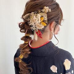 ロング ナチュラル 卒業式 編みおろしヘア ヘアスタイルや髪型の写真・画像