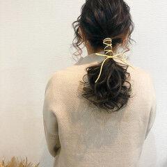 ポニーテールアレンジ ポニーテール ヘアセット セミロング ヘアスタイルや髪型の写真・画像
