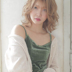 韓国 ハイトーン ボブ ヘルシーミディ ヘアスタイルや髪型の写真・画像