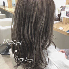 ナチュラル 透明感カラー 透け感アッシュ ハイライト ヘアスタイルや髪型の写真・画像
