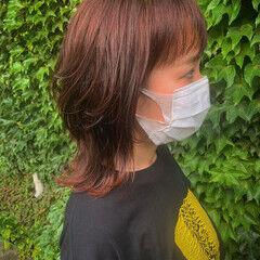 アプリコット レイヤーカット マッシュウルフ モード ヘアスタイルや髪型の写真・画像