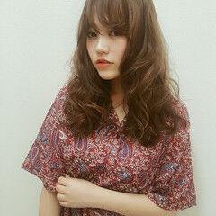 アンニュイ シースルーバング ガーリー ロング ヘアスタイルや髪型の写真・画像
